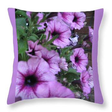 Blue Petunias Throw Pillow