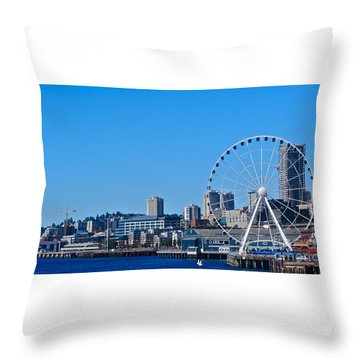 Blue Pier  Throw Pillow