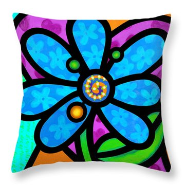 Blue Pinwheel Daisy Throw Pillow