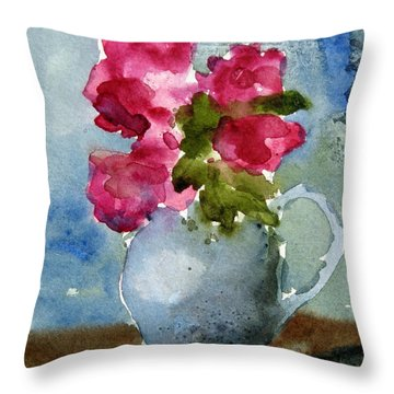 Blue Pitcher  Throw Pillow by Anne Duke