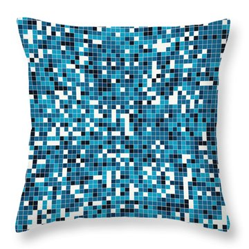 Throw Pillow featuring the digital art Blue Pixel Art by Mike Taylor