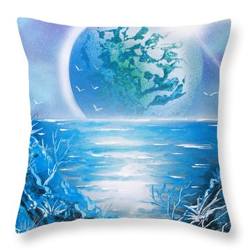 Throw Pillow featuring the painting Blue Moon by Greg Moores