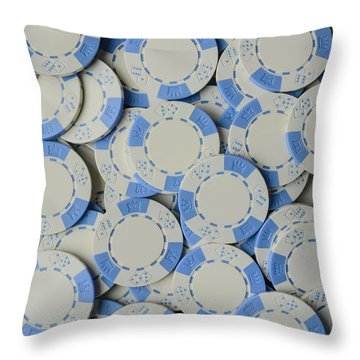 Blue Poker Chip Background Throw Pillow