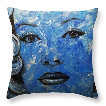 Blue Pop Marilyn Throw Pillow by Malinda Prudhomme