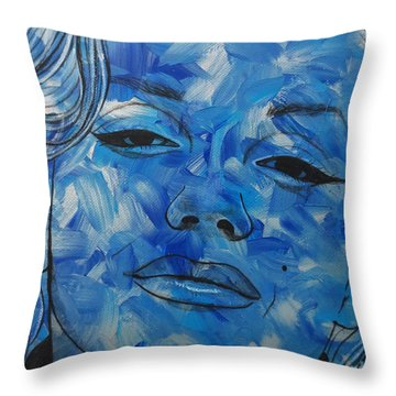 Blue Pop Marilyn Mini Throw Pillow by Malinda Prudhomme
