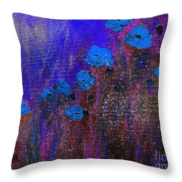 Blue Poppies Throw Pillow by Claire Bull