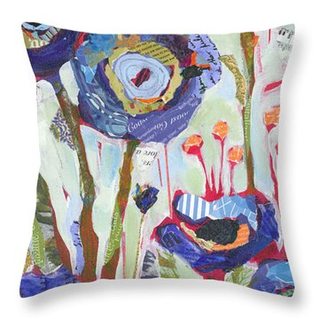 Blue Poppies I Throw Pillow