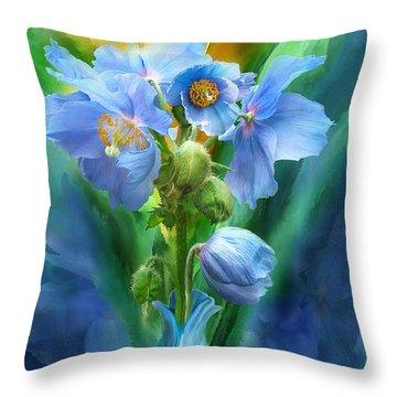 Blue Poppies In Poppy Vase Throw Pillow by Carol Cavalaris
