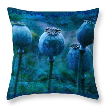 Throw Pillow featuring the photograph Blue Poppy Grunge by Sandra Foster