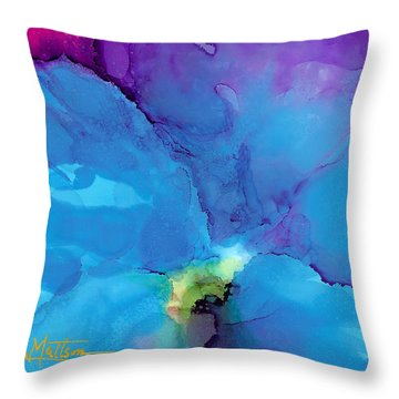 Blue Poppy Throw Pillow by Karen Mattson