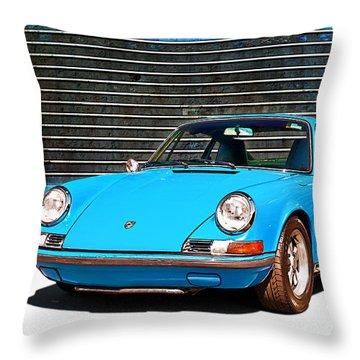 Blue Porsche 911 Throw Pillow