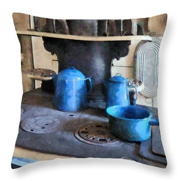 Blue Pots On Stove Throw Pillow by Susan Savad