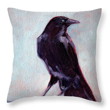 Blue Raven Throw Pillow