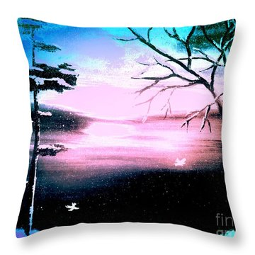 Blue Ray Throw Pillow