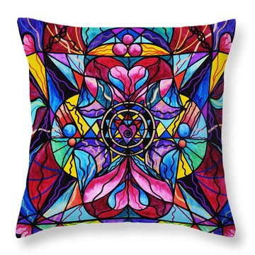 Blue Ray Healing Throw Pillow by Teal Eye  Print Store
