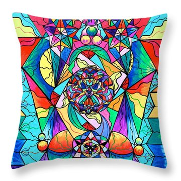 Blue Ray Transcendence Grid Throw Pillow