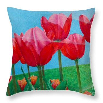 Throw Pillow featuring the painting Blue Ray Tulips by Pamela Clements