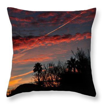 Blue Red And Gold Sunset With Streak Throw Pillow by Jay Milo