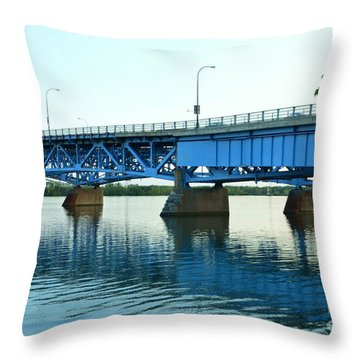 Blue Reflections Throw Pillow by Kathleen Struckle