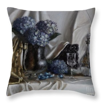 Blue Reflections Throw Pillow by Viktoria K Majestic