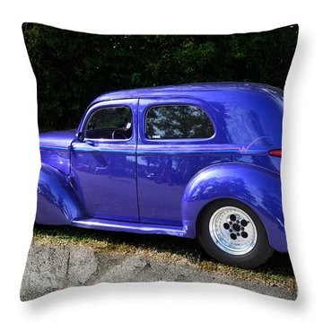 Blue Restored Willy Car Throw Pillow by Luther Fine Art