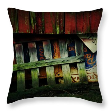 Blue Ribbon Landscape Throw Pillow by Rebecca Sherman