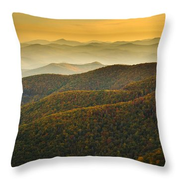 Blue Ridge Autumn Throw Pillow by Serge Skiba