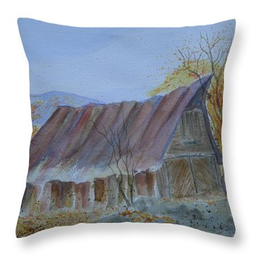 Blue Ridge Barn Throw Pillow