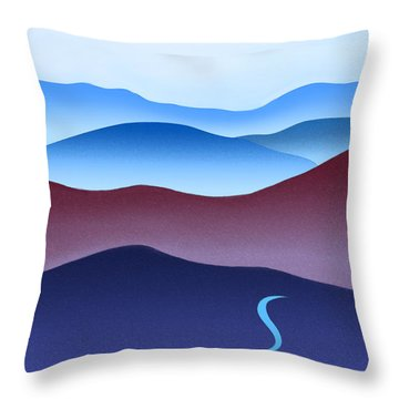 Blue Ridge Blue Road Throw Pillow