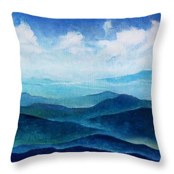 Blue Ridge Blue Skyline Sheep Cloud Throw Pillow by Catherine Twomey