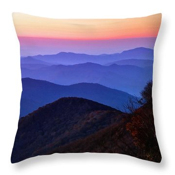 Blue Ridge Dawn Throw Pillow by Jaki Miller