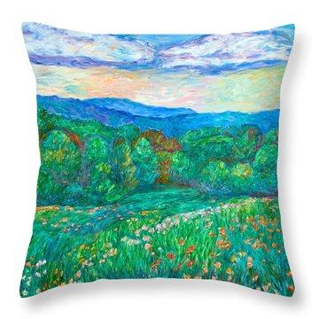 Blue Ridge Meadow Throw Pillow by Kendall Kessler