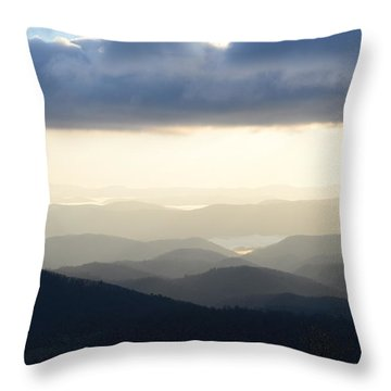 Blue Ridge Morning Mist Throw Pillow