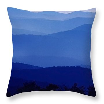 Blue Ridge Mountain Panoramic  Throw Pillow