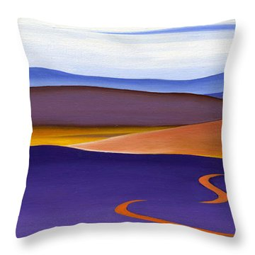 Blue Ridge Orange Mountains Sky And Road In Fall Throw Pillow