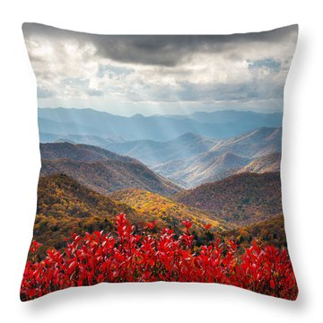 Blue Ridge Parkway Fall Foliage - The Light Throw Pillow
