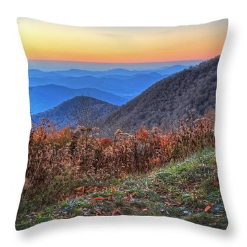 Blue Ridge Sunrise Throw Pillow by Jaki Miller