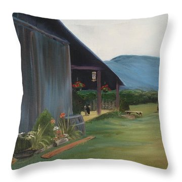 Blue Ridge Vineyard Throw Pillow by Donna Tuten