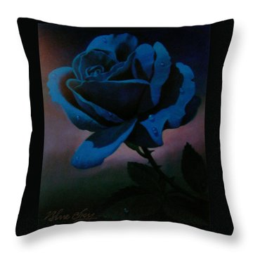 Blue Rose Throw Pillow by Blue Sky