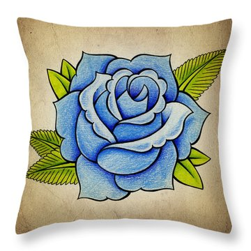 Blue Rose Throw Pillow by Samuel Whitton