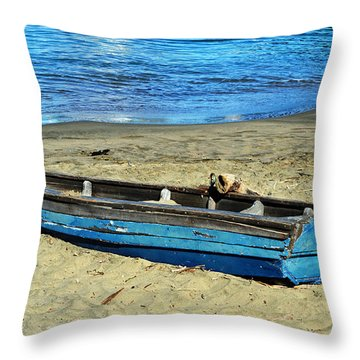 Blue Rowboat Throw Pillow by Holly Blunkall