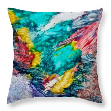 Blue Rush Throw Pillow by Joan Reese