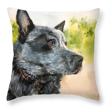 Throw Pillow featuring the painting Blue by Sandra Phryce-Jones