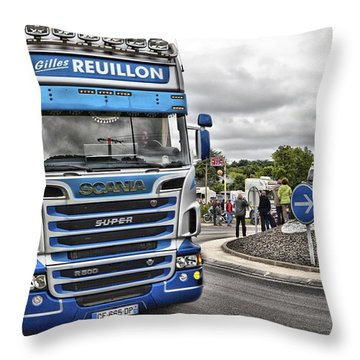 Blue Scania R500 Throw Pillow by Mick Flynn