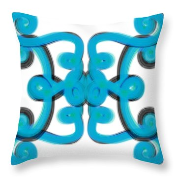 Throw Pillow featuring the digital art Blue Scroll Square by Christine Fournier