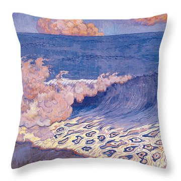 Blue Seascape Wave Effect Throw Pillow by Georges Lacombe