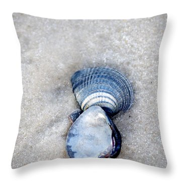 Blue Seashells Throw Pillow