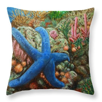 Blue Seastar Throw Pillow