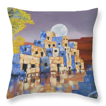 Blue Serpent Pueblo Throw Pillow by Jerry McElroy