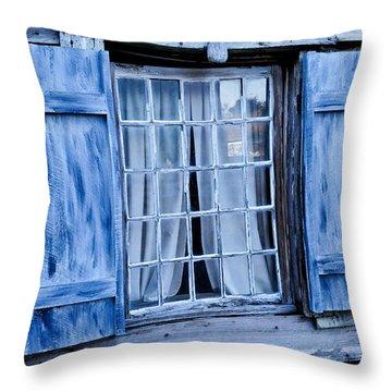 Blue Shutters Throw Pillow by Bonnie Fink